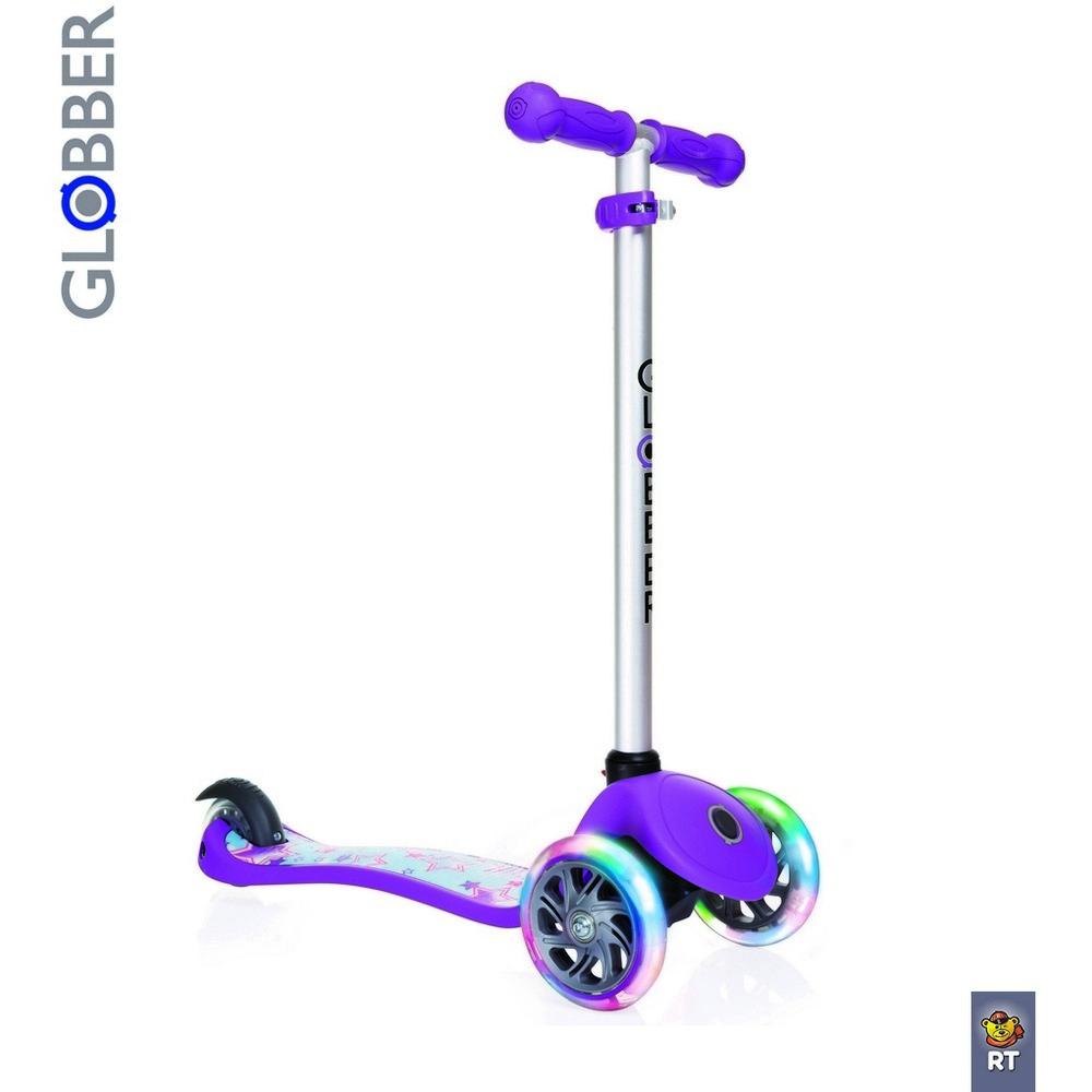 Самокат Y-SCOO Globber Primo Fantasy с 3 светящимися колесами Stars Violet - Самокаты, артикул: 161561