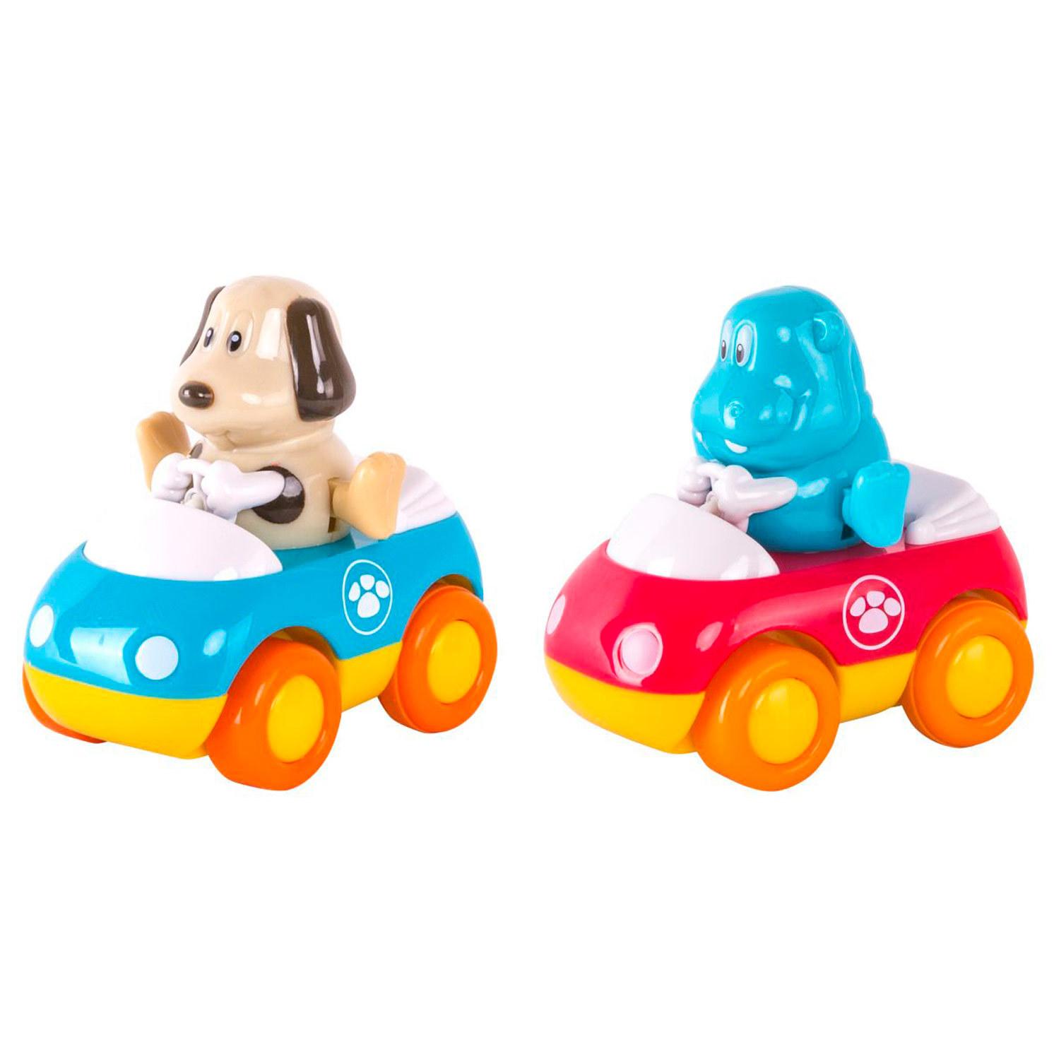 Набор - Зверушки на колесиках - Щенок и бегемотикМашинки для малышей<br>Набор - Зверушки на колесиках - Щенок и бегемотик<br>