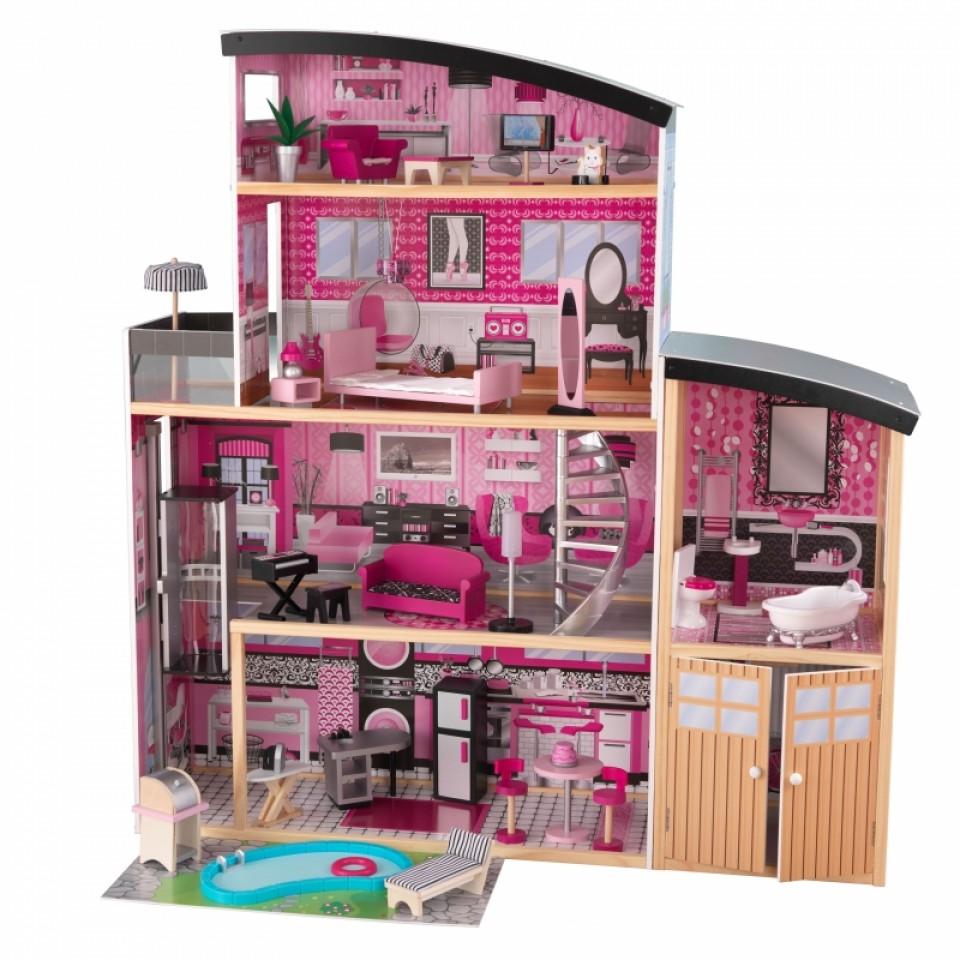 Большой искрометный кукольный дом с мебелью для Барби – СияниеКукольные домики<br>Большой искрометный кукольный дом с мебелью для Барби – Сияние<br>