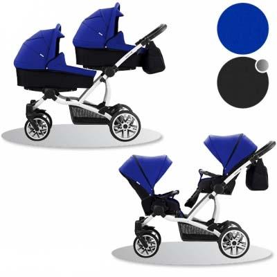 Детская коляска для двойни 2 в 1 – Bebetto 42, шасси белая/BIA 399Детские коляски 2 в 1<br>Детская коляска для двойни 2 в 1 – Bebetto 42, шасси белая/BIA 399<br>