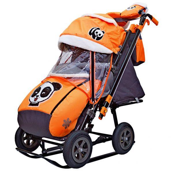 Санки-коляска Snow Galaxy City-2-1 - Панда на оранжевом, на больших колесах Eva, сумка, варежки RT
