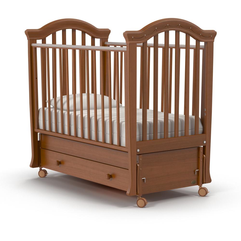Купить Детская кровать Nuovita Perla swing продольный, noce scuro/темный орех