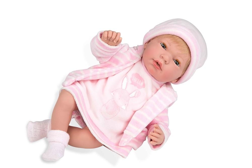 Интерактивная кукла из коллекции Elegance – Пупс, 38 см, с мягким телом, с закрывающимися глазами, в розовой одежде с изображением зайчика и соской, плачет