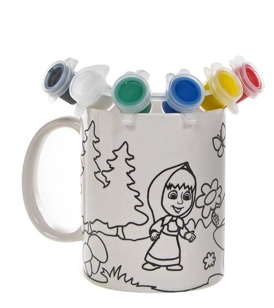 Купить Кружка керамическая для росписи с рисунком - Маша и Медведь, краски и кисточка в комплекте, Multiart