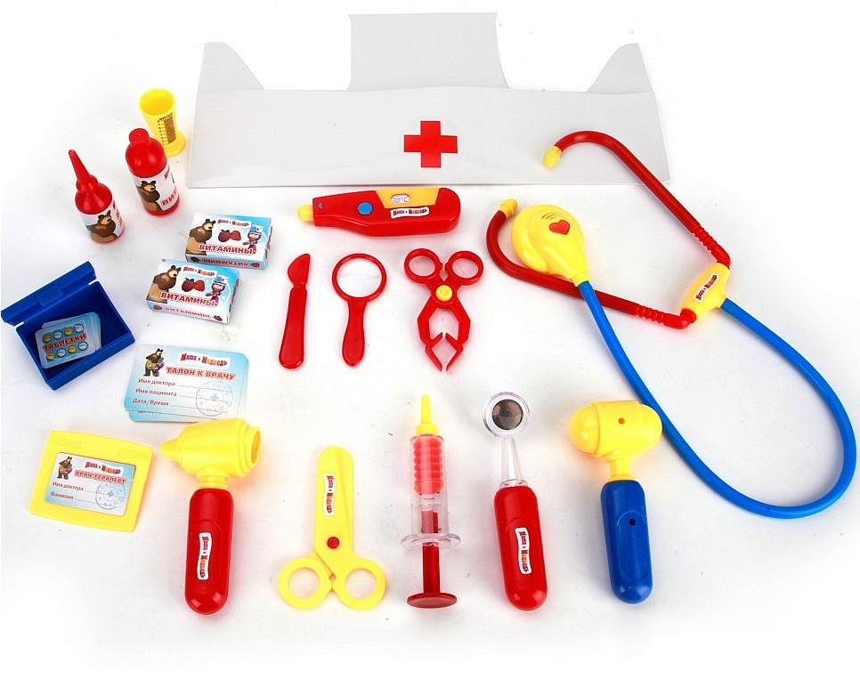 Игровой набор доктора с шапочкой, серия Маша и МедведьНаборы доктора детские<br>Игровой набор доктора с шапочкой, серия Маша и Медведь<br>