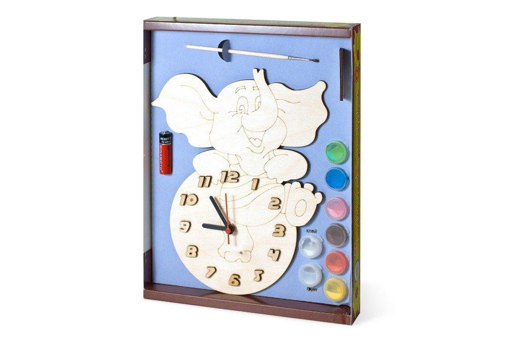 Часы с циферблатом под роспись – Слоник, с краскамиЛаковая миниатюра и роспись по дереву<br>Часы с циферблатом под роспись – Слоник, с красками<br>