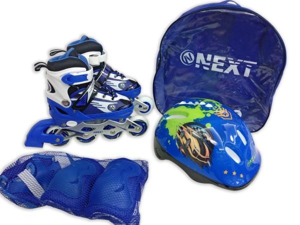 Купить Набор: ролики раздвижные с алюминиевой рамой, ABEC-7, колеса PU, размер 27-30, с защитой и шлемом в рюкзаке, Next
