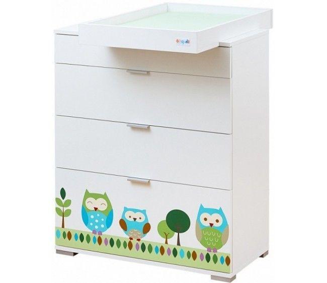 Комод пеленальный со съемной столешницей, дизайн - Summer OwlsДетские кровати и мягкая мебель<br>Комод пеленальный со съемной столешницей, дизайн - Summer Owls<br>