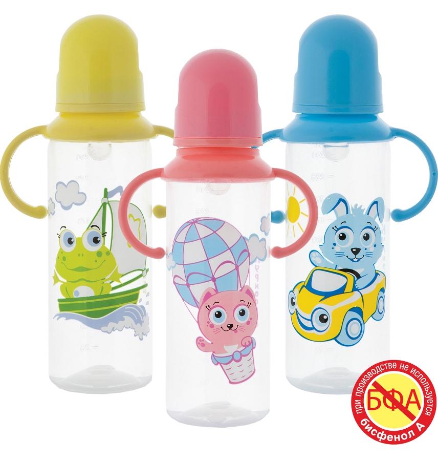 Бутылочка полипропиленовая с ручками и силиконовой соской, 250 мл.Бутылочки<br>Бутылочка полипропиленовая с ручками и силиконовой соской, 250 мл.<br>