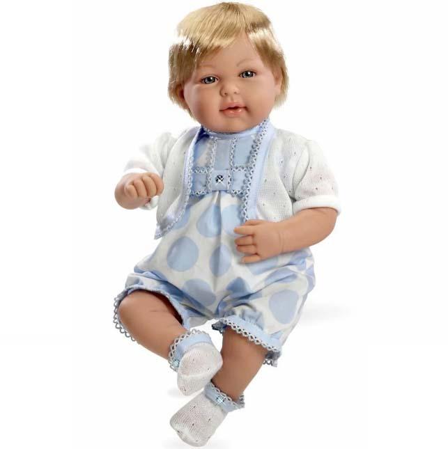 Интерактивная кукла из коллекции Elegance - Мальчик в голубой одежде с кристаллами Swarowski, 45 см, смеется