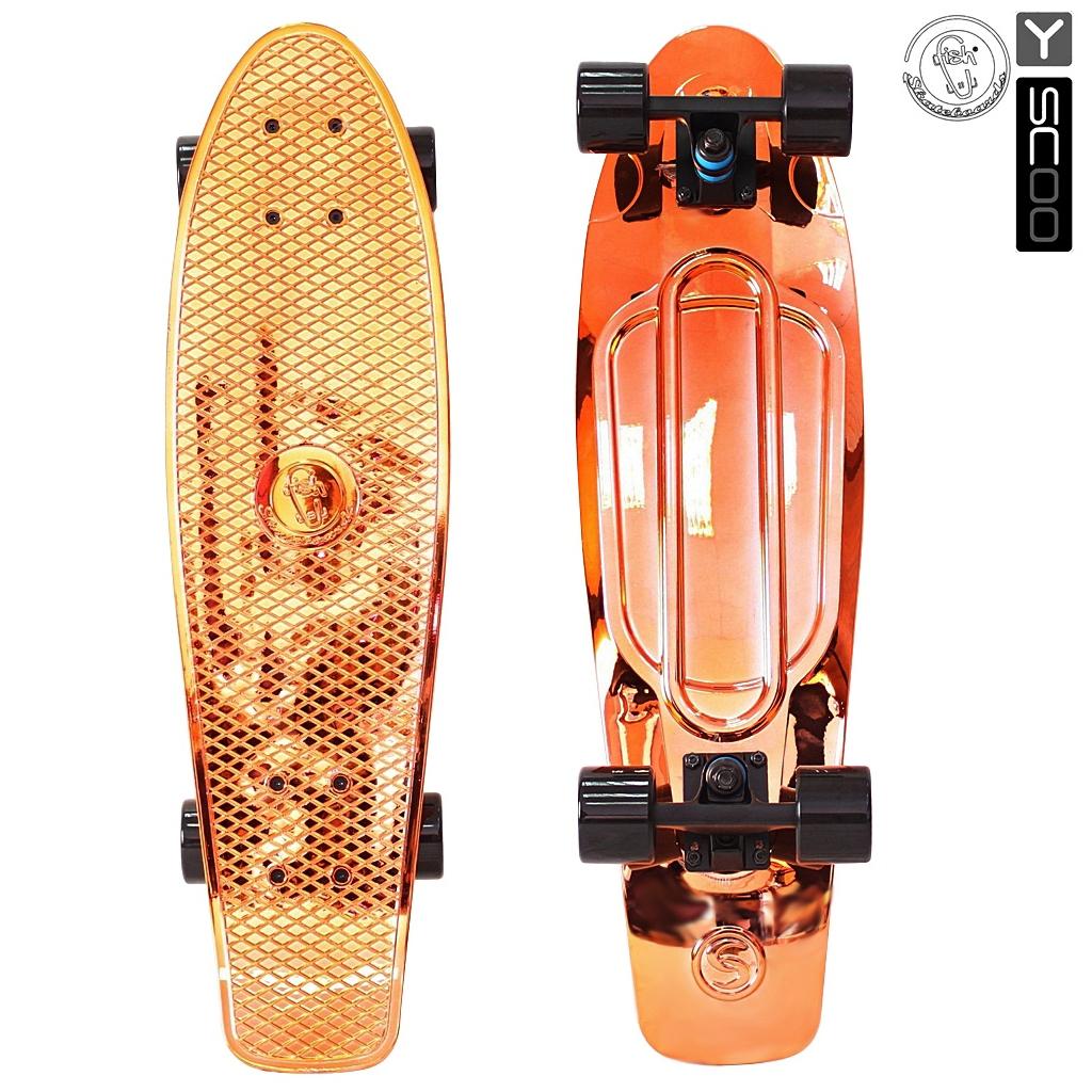 """RT Скейтборд виниловый Y-Scoo Big Fishskateboard metallic 27"""" 402H-O с сумкой, оранжевый с черными колёсами"""