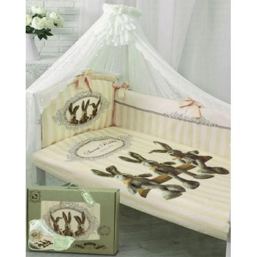 Комплект в кроватку – Sweet Rabbit, 7 предметов, молочныйДетское постельное белье<br>Комплект в кроватку – Sweet Rabbit, 7 предметов, молочный<br>