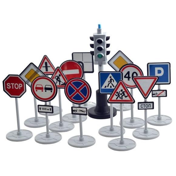 Набор - Светофор с дорожными знакамиЗнаки дорожного движения, светофоры<br>Набор - Светофор с дорожными знаками<br>