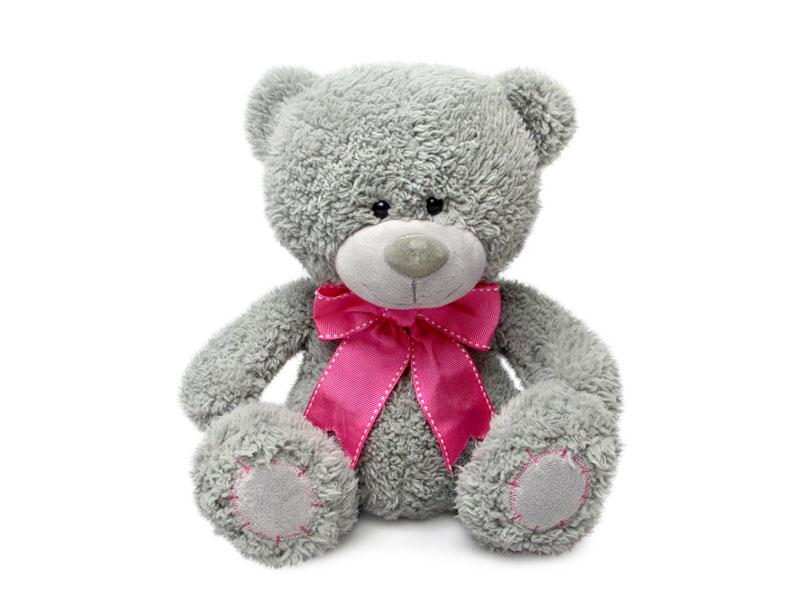 Мягкая игрушка - Медвежонок Дэнни с малиновым бантом, музыкальный, 24 смМедведи<br>Мягкая игрушка - Медвежонок Дэнни с малиновым бантом, музыкальный, 24 см<br>