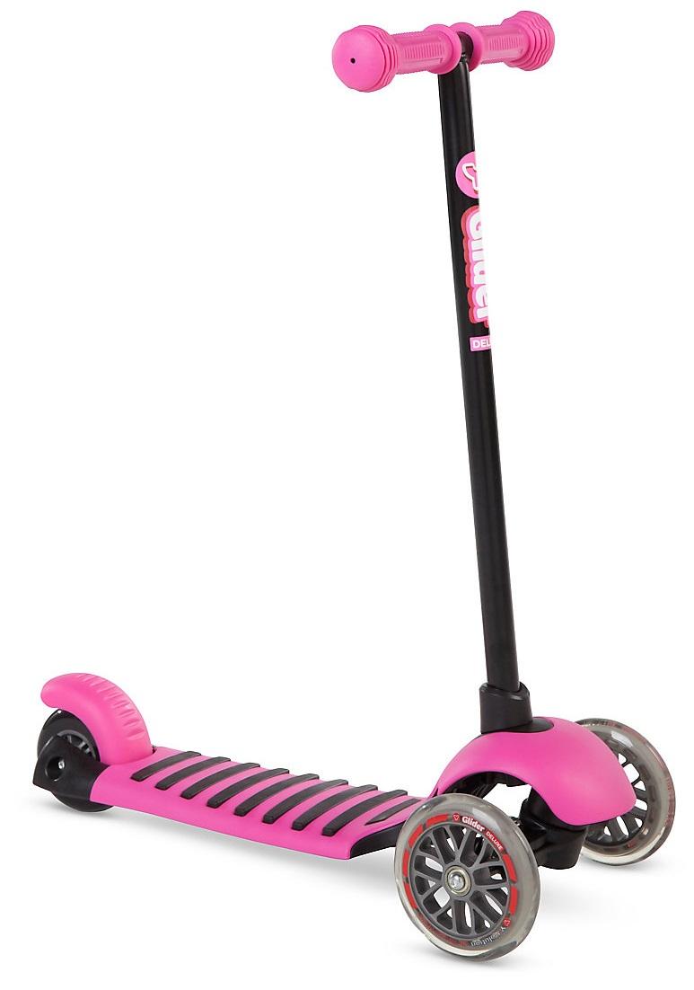 Купить Трехколесный самокат YVolution Glider Deluxe с прорезиненной платформой, цвет – розовый, 100488