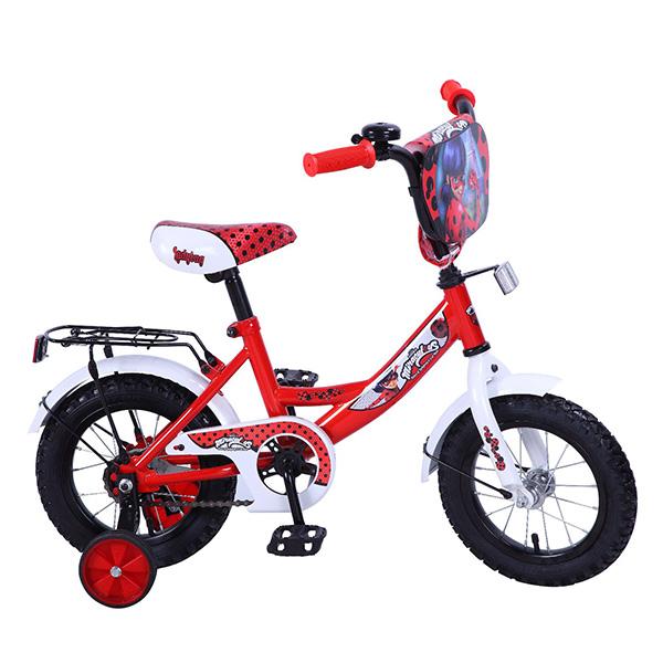 Велосипед детский - Lady Bug, красно-белый со страховочными колесамиВелосипеды детские<br>Велосипед детский - Lady Bug, красно-белый со страховочными колесами<br>