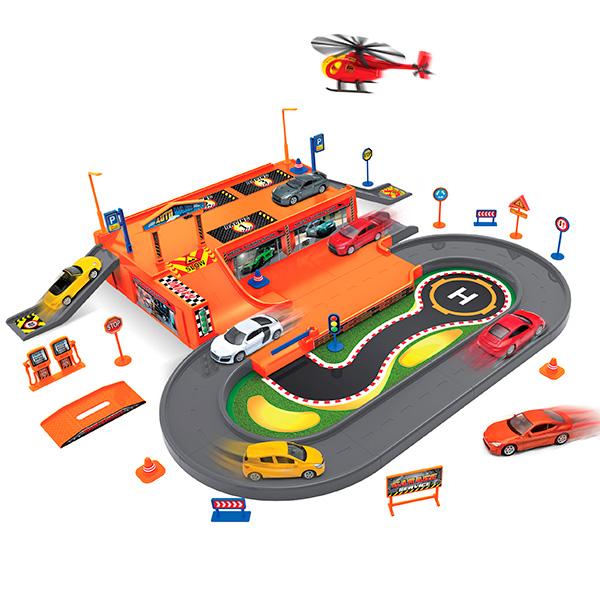 Купить Игровой набор Welly Гараж, с 3 машинками и вертолетом