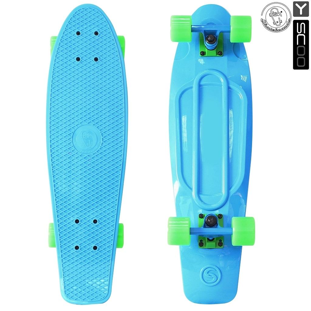 Скейтборд виниловый Y-Scoo Fishskateboard 22 401-B с сумкой, сине-зеленыйДетские скейтборды<br>Скейтборд виниловый Y-Scoo Fishskateboard 22 401-B с сумкой, сине-зеленый<br>