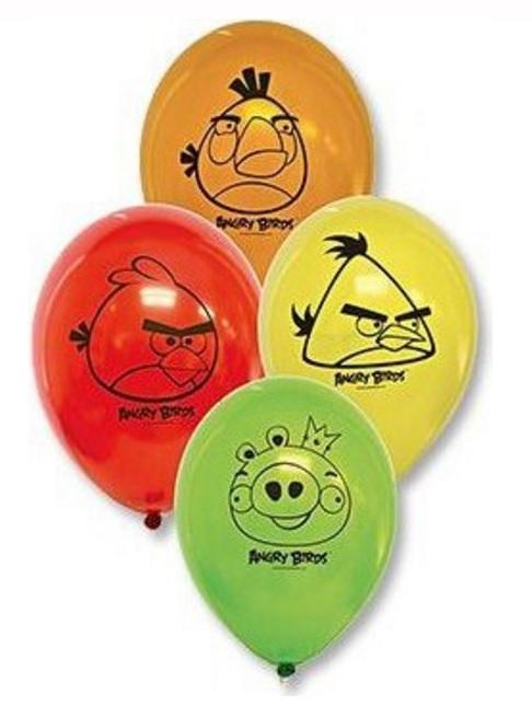 Набор шаров - Angry Birds, 5 шт. по 30 см.Воздушные шары<br>Набор шаров - Angry Birds, 5 шт. по 30 см.<br>