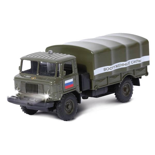 Машина металлическая инерционная - ГАЗ 66 - Вооруженные силы, со светом и звукомГрузовые модели<br>Машина металлическая инерционная - ГАЗ 66 - Вооруженные силы, со светом и звуком<br>