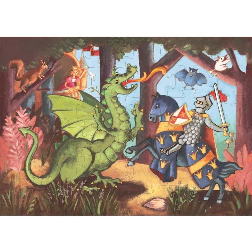 Купить Пазл - Рыцарь и дракон, 36 деталей, Djeco