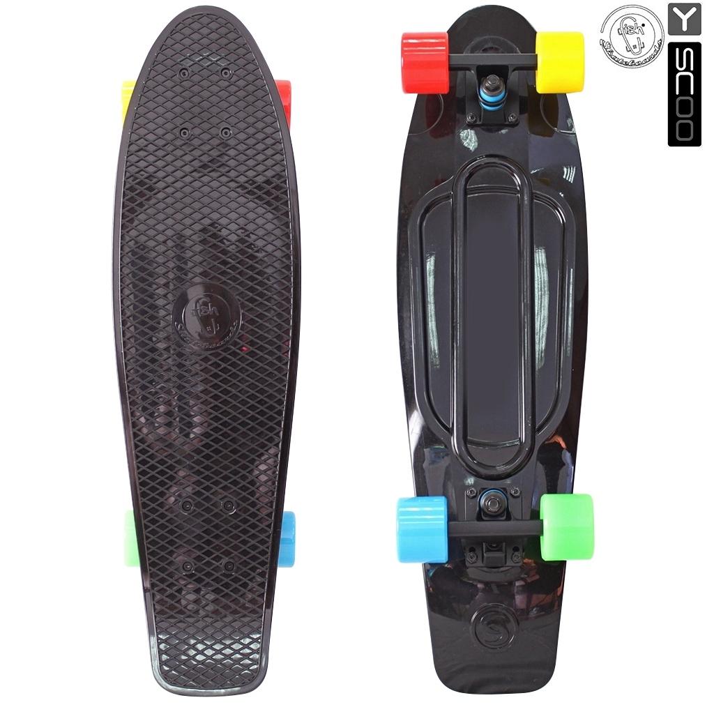Скейтборд виниловый Y-Scoo Big Fishskateboard 27 402-B4 с сумкой, черный с разноцветными колесамиДетские скейтборды<br>Скейтборд виниловый Y-Scoo Big Fishskateboard 27 402-B4 с сумкой, черный с разноцветными колесами<br>