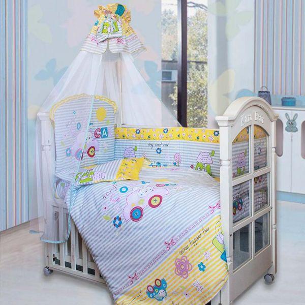 Комплект в кроватку – Cool Car, 7 предметов, голубойДетское постельное белье<br>Комплект в кроватку – Cool Car, 7 предметов, голубой<br>