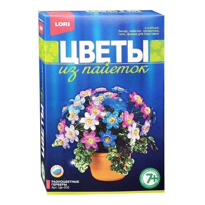 Купить Цветы из пайеток - Разноцветные герберы, LORI