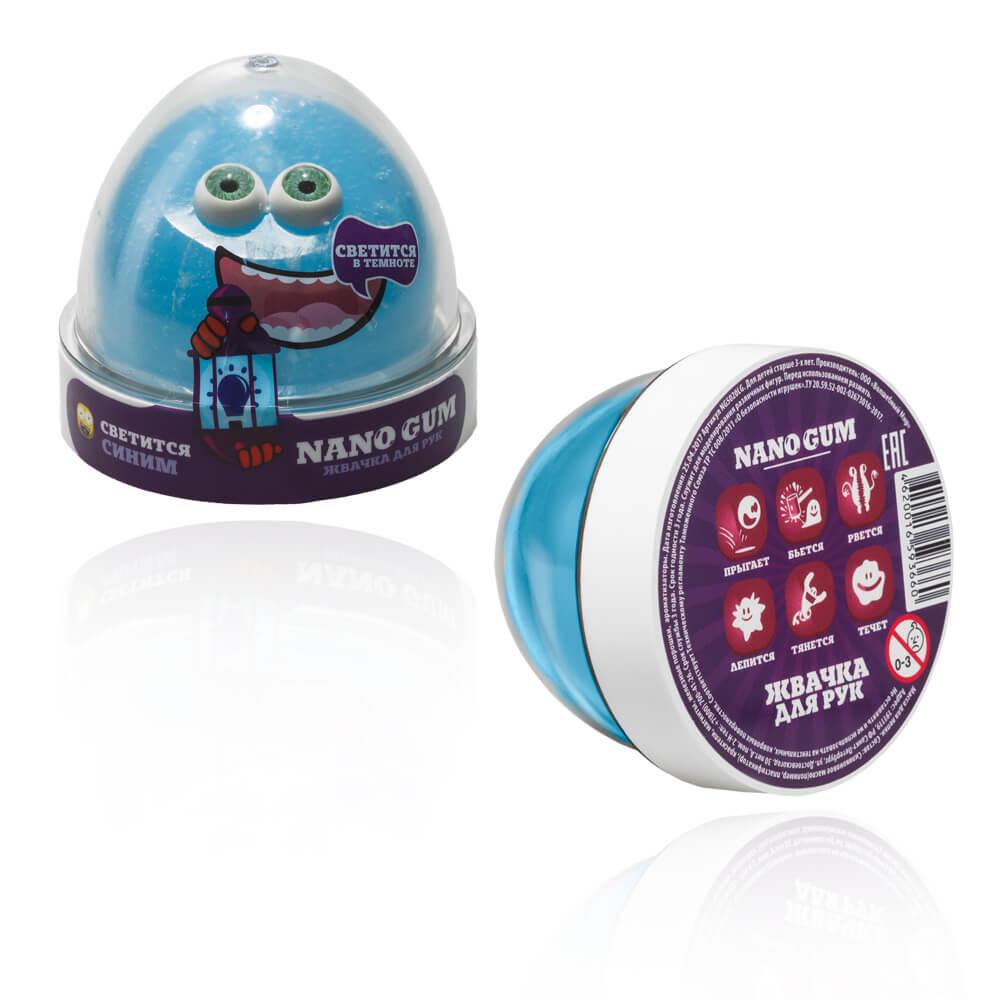 Купить Жвачка для рук - Nano gum, светится в темноте синим, 50 грамм, Фабрика игрушек