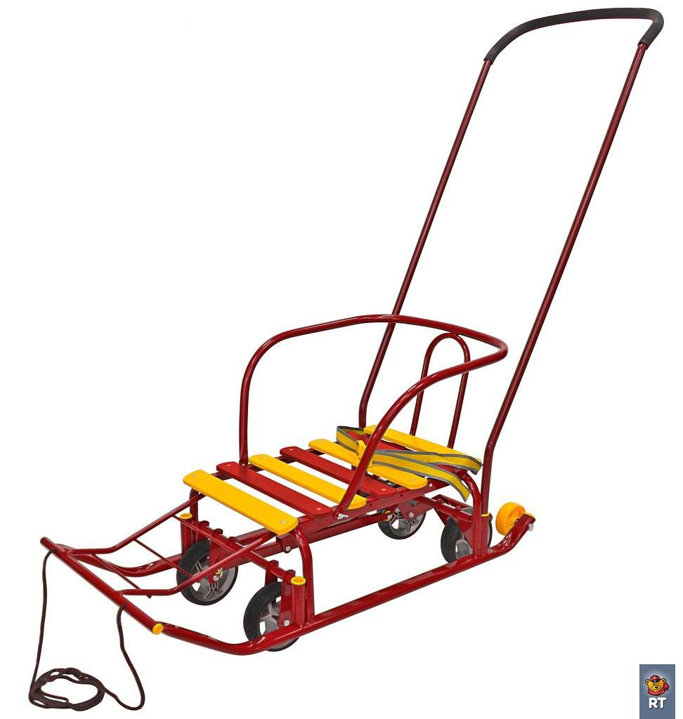 Снегомобиль на колесах, педальный принцип, красныйСанки и сани-коляски<br>Снегомобиль на колесах, педальный принцип, красный<br>