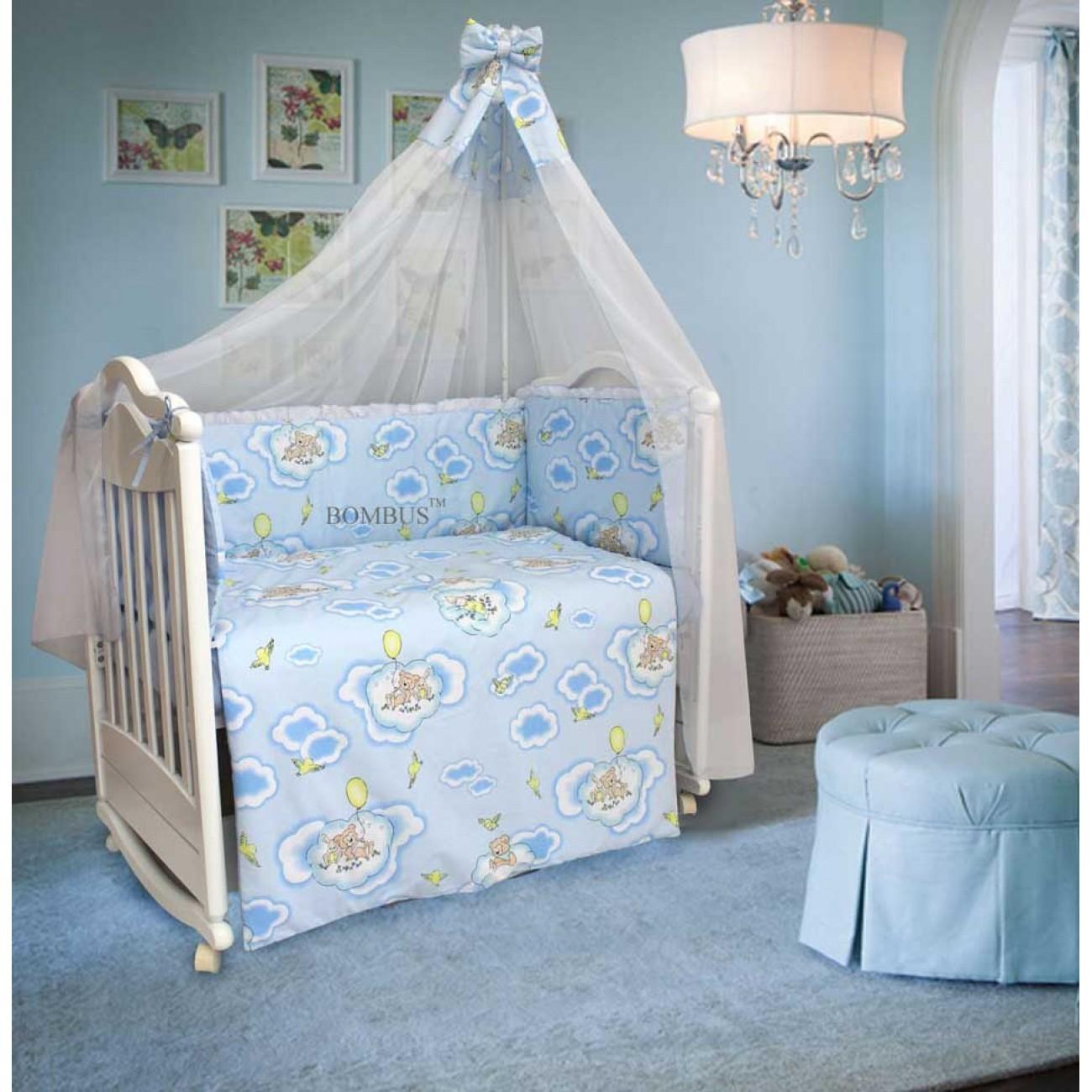 Бампер в кроватку – Сладкий сон, голубойДетское постельное белье<br>Бампер в кроватку – Сладкий сон, голубой<br>