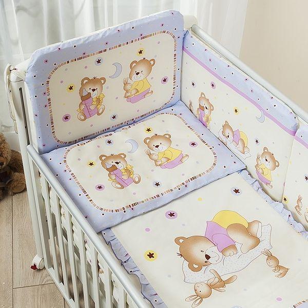 Комплект постельного белья для детей Ника, 3 предмета, лиловыйДетское постельное белье<br>Комплект постельного белья для детей Ника, 3 предмета, лиловый<br>