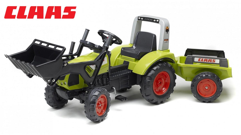 Трактор-экскаватор педальный с прицепом, зеленый, 191 см.
