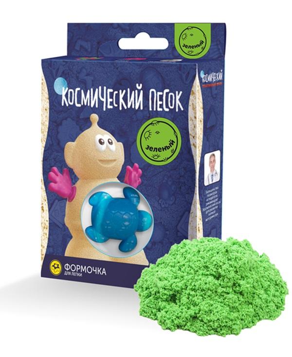 Купить Космический песок зеленый пластичный с формочкой, 150 г