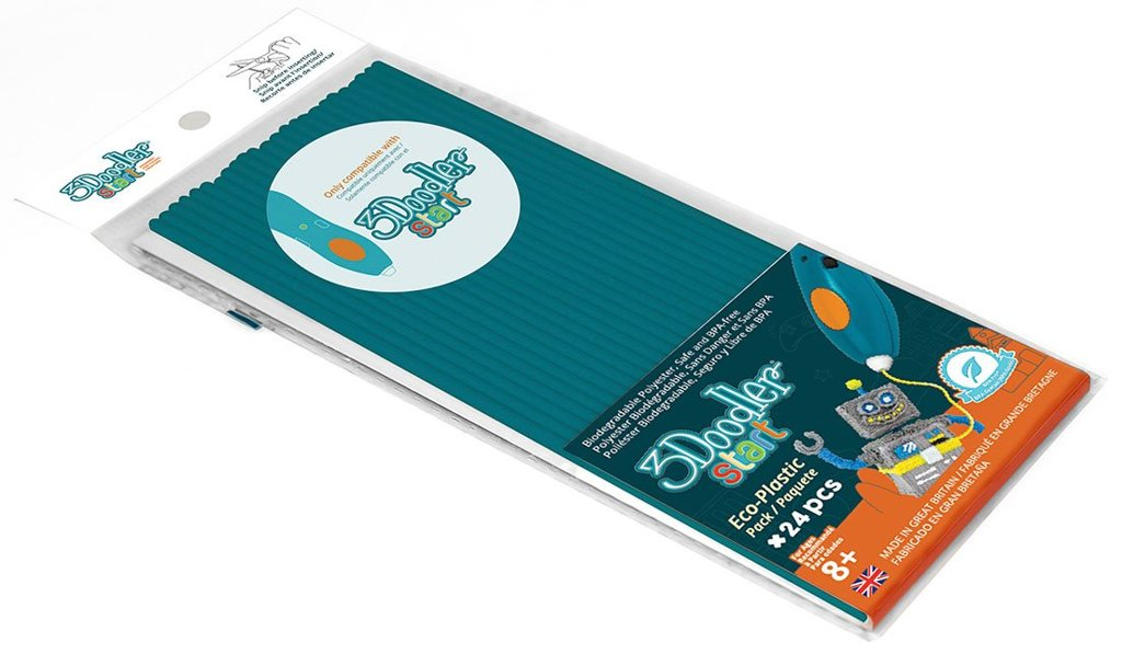Купить Эко-пластик к 3Д ручке 3Doodler Start, цвет бирюзовый, 24 штуки, Wobble Works