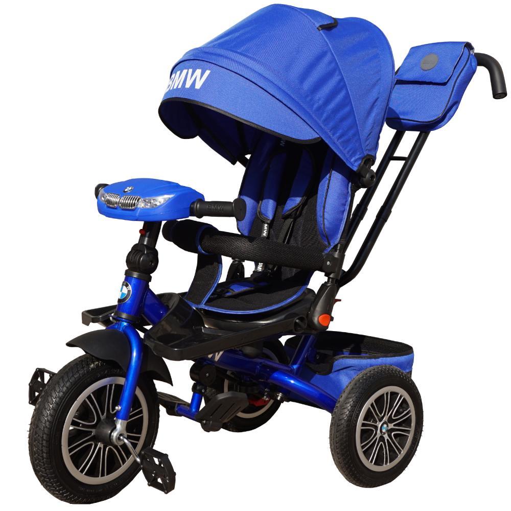 Велосипед BMW 3-колесный синий, надувные колеса 12 и 10', светомузыкальная панель, регулируемая спинка, поворотное сиденье, складной руль