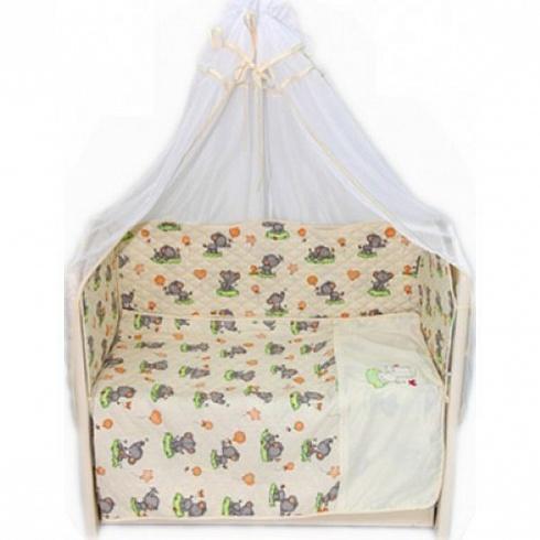 Комплект в кроватку – Универсальный, 6 предметов, бежевыйДетское постельное белье<br>Комплект в кроватку – Универсальный, 6 предметов, бежевый<br>