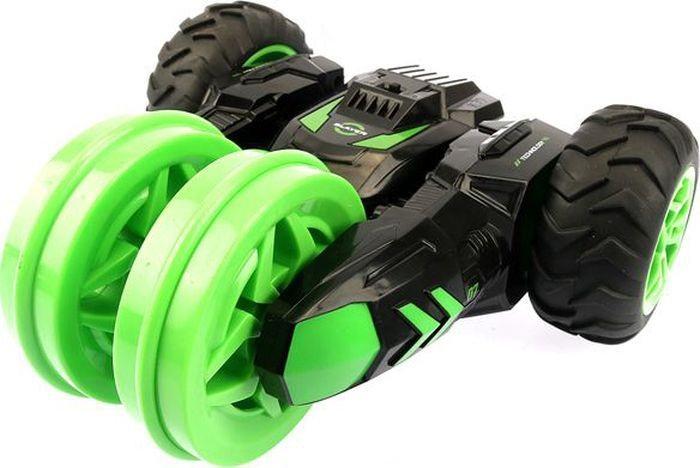 картинка Машина-перевертыш на р/у - Драйв, трюковая трехколесная, аккумулятор 4.8V, цвет черно-зеленый от магазина Bebikam.ru
