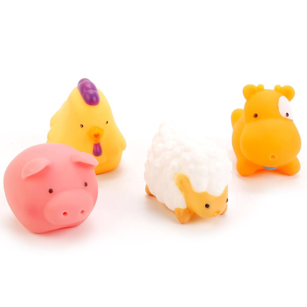 Игрушки для ванной – 4 домашних животных, в сетке, Играем вместе  - купить со скидкой