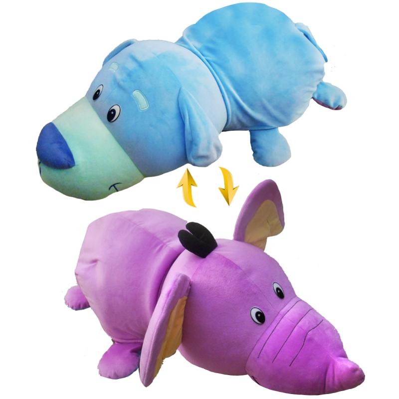 Купить Плюшевая игрушка Вывернушка 2 в 1, Голубой Щенок-Сиреневый Слон, 76 см., 1TOY