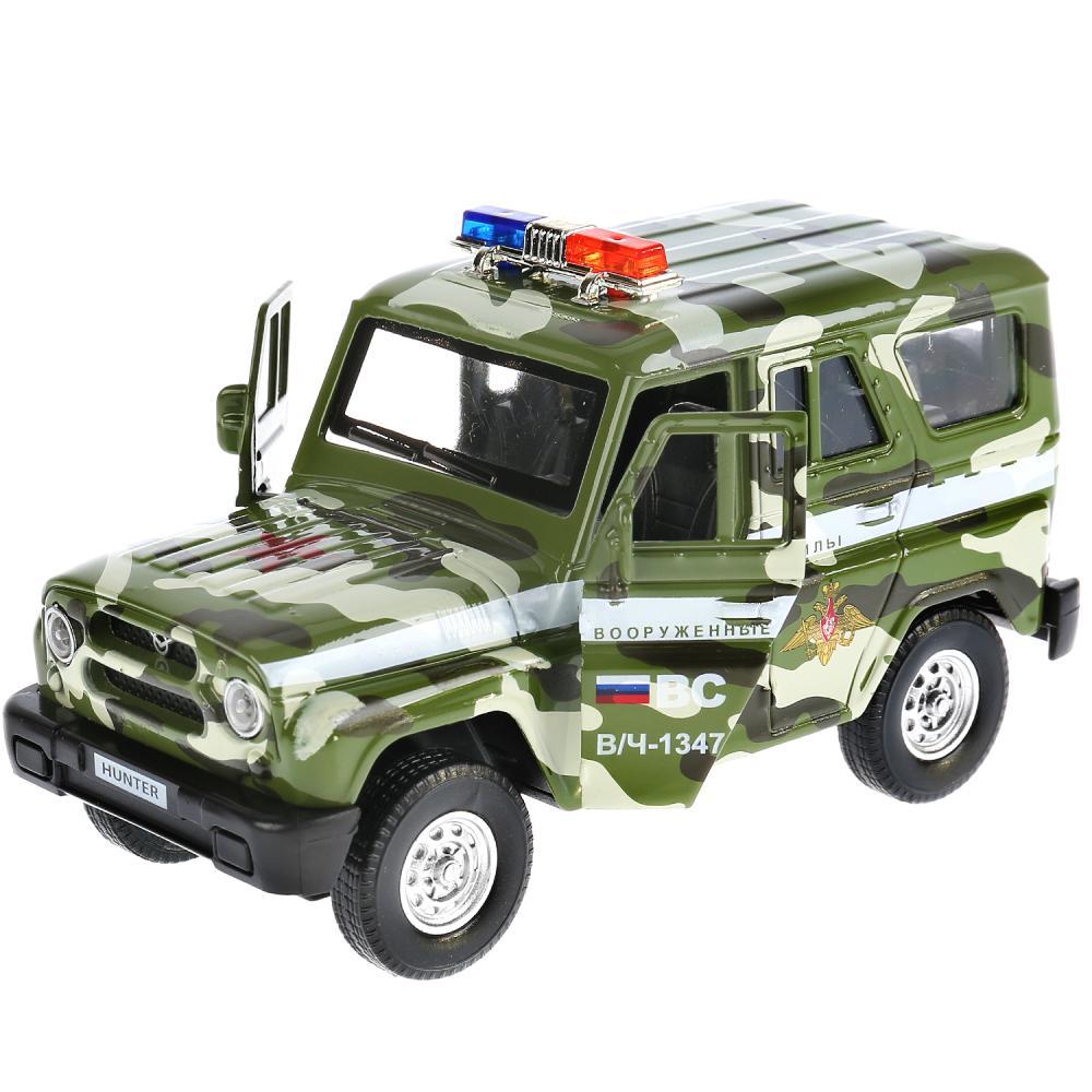 Купить Модель Uaz Hunter военный, 12 см, открываются двери, инерционный, свет и звук, Технопарк