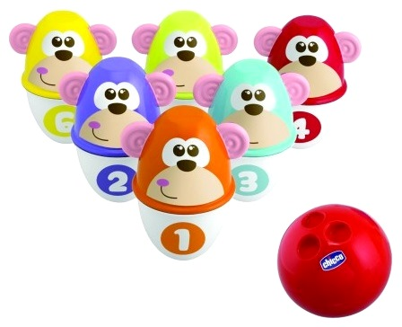 Набор для боулинга «Monkey Strike»Развивающие Игрушки Chicco<br>Набор для боулинга «Monkey Strike»<br>