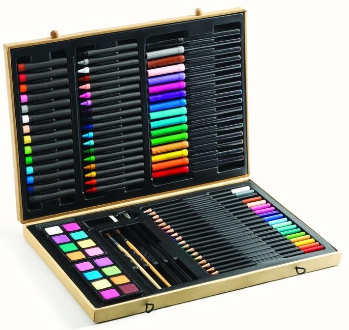 Купить Большой набор для рисования, 80 предметов: карандаши, фломастеры, краски, Djeco
