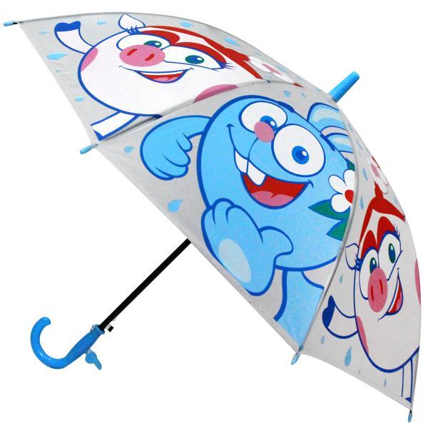 Зонт детский прозрачный из серии Смешарики, диаметр 50 см., со свистком