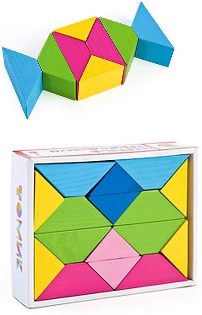 Треугольники цветные, 16 деталейКубики<br>Треугольники цветные, 16 деталей<br>