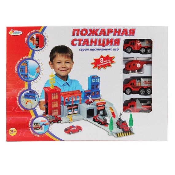 Пожарная станция с 3 машинками и вертолетом - Самолеты, службы спасения, артикул: 123645
