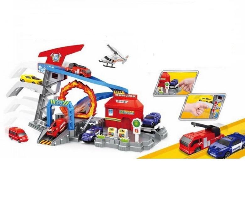 Купить Игровой набор – Пожарная техника, гараж с 3-мя машинками, вертолетом и аксессуарами, S+S TOYS