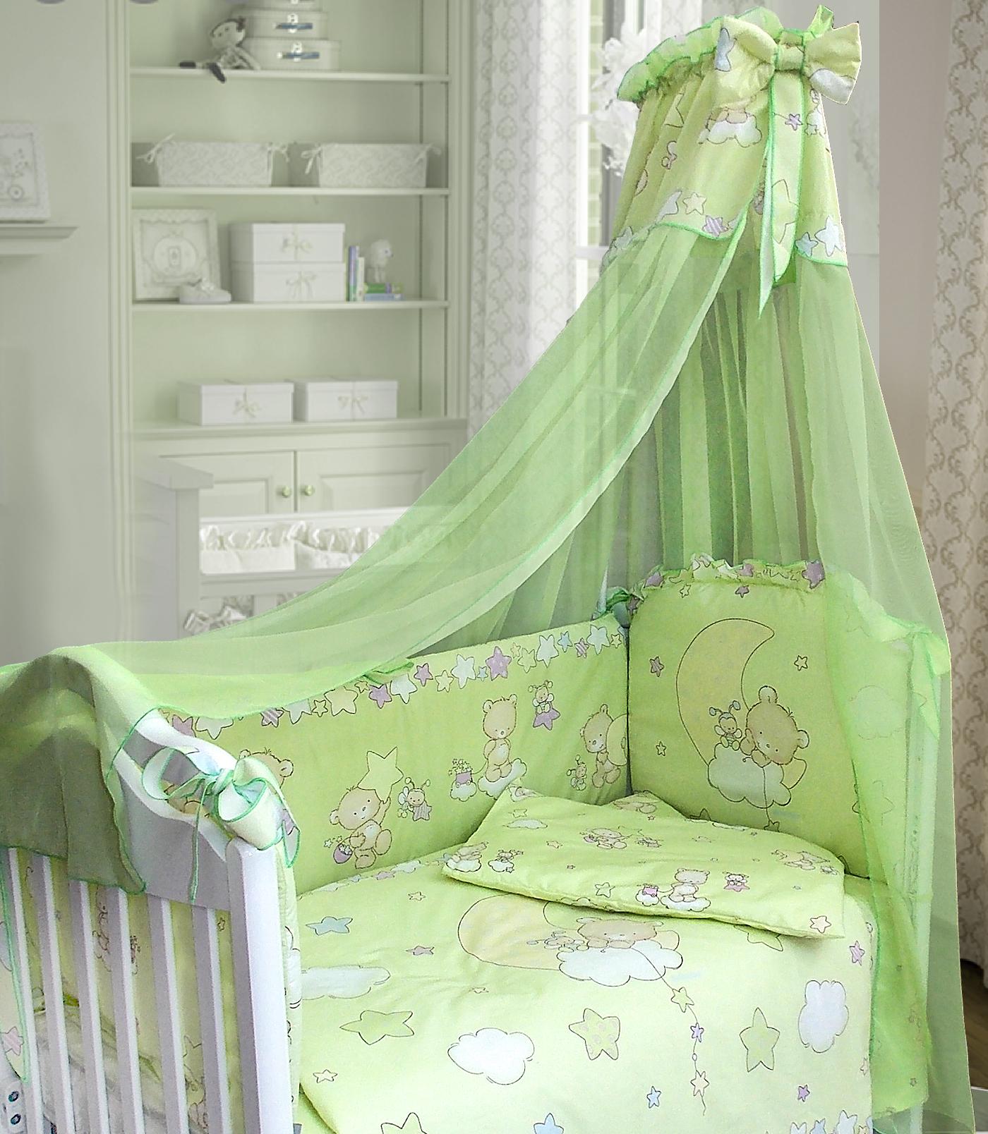 Комплект в кроватку - Павлуша, 7 предметов, зелёныйДетское постельное белье<br>Комплект в кроватку - Павлуша, 7 предметов, зелёный<br>