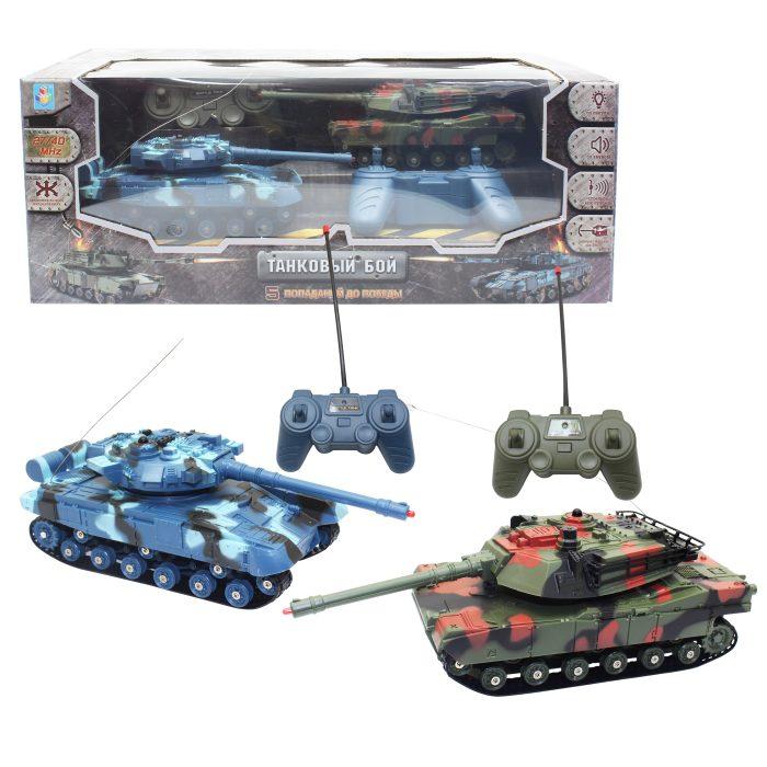 Купить Танки на р/у Взвод - Танковый бой, 2 танка 18 см, 27/40 МГц, АКБ 3, 6V700 mAh, поворот башни, звук и свет, 1TOY