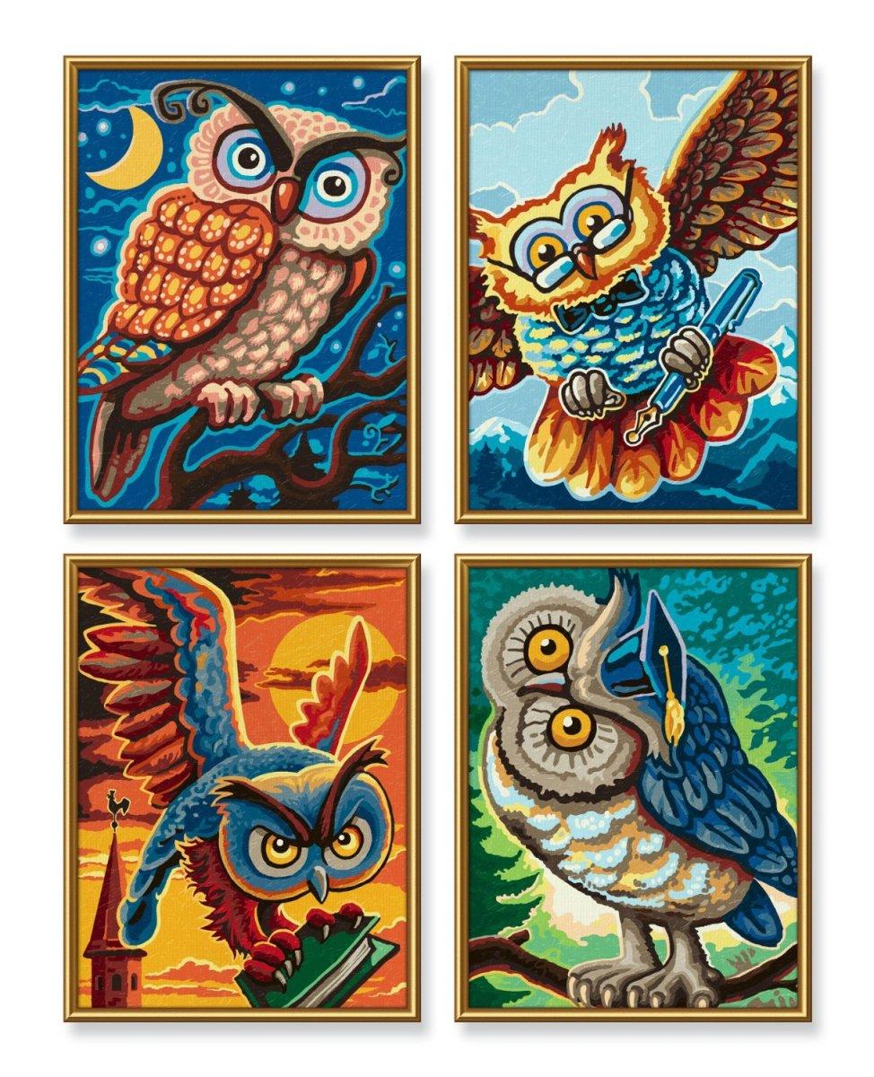 Раскраска по номерам - Совы мудрости. 4 картиныРаскраски по номерам Schipper<br>Раскраска по номерам - Совы мудрости. 4 картины<br>